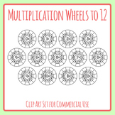 Multiplication Wheels Blank Template to 12 Clip Art Set Commercial Use