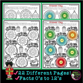 Multiplication Wheels: Christmas
