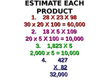 Multiplication Whole Numbers Estimation Exponents POWERPOINT