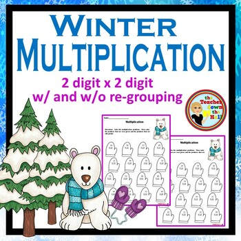 Double Digit Multiplication - Color the Product - Winter