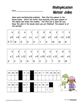 Multiplication Winter Snowman Jokes