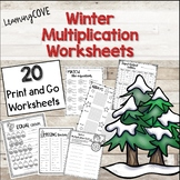 Multiplication Winter Worksheets - 20 Print and Go!