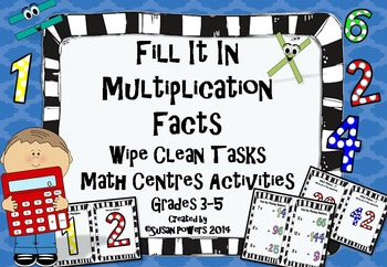 "Multiplication ""Wipe Clean"" Math Centers Activities"