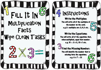 """Multiplication """"Wipe Clean"""" Math Centers Activities"""