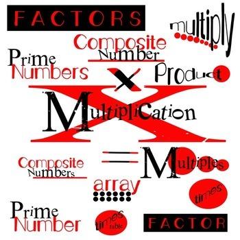 Math Clip Art: Multiplication Word Art: 300dpi