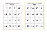 Multiplication Word Problem Bingo