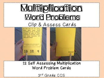 Multiplication Word Problem Clip and Assess Cards