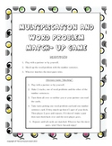 Multiplication Word Problem Match Up Game
