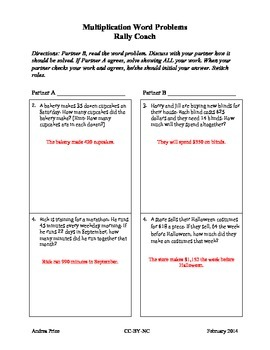 Multiplication Word Problem Partner Activity