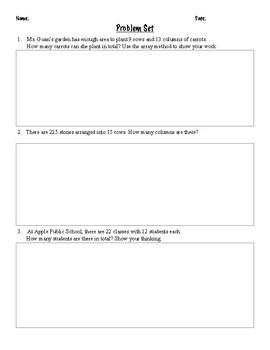 Multiplication Word Problem Practice Worksheets FREEBIE