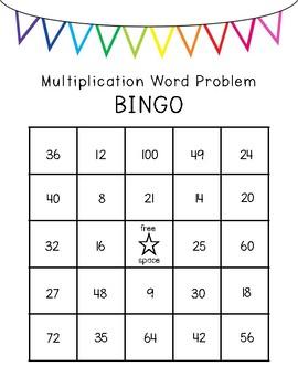 Multiplication Word Problem Task Card Bingo