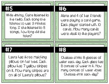 Multiplication Word Problem Task Cards (1-12 Facts)