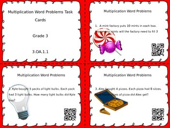 Multiplication Word Problem Task Cards