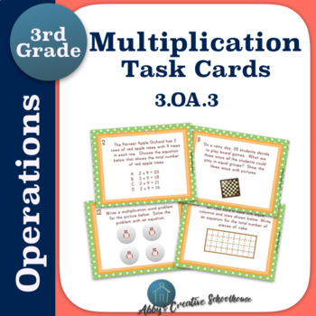 3.OA.3 Multiplication Word Problem Task Cards