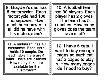 Multiplication Word Problem Task Cards (28 Cards)
