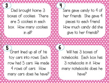 Multiplication Word Problem Task Cards: 3.OA.3