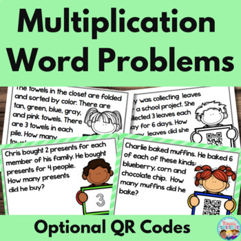 Multiplication Word Problem Task Cards With Optional QR Codes