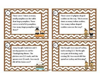 Multiplication Word Problem Task Cards, Thanksgiving Task Cards, Word Problems