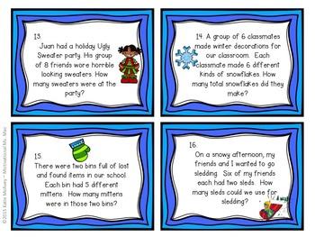 Multiplication Word Problem Task Cards - Winter Edition