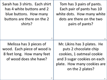 Multiplication Word Problem Task Cards (x0, x1, x2, x3, x10)