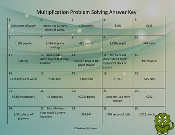 Multiplication Word Problem Task Cards/Scoot Activity