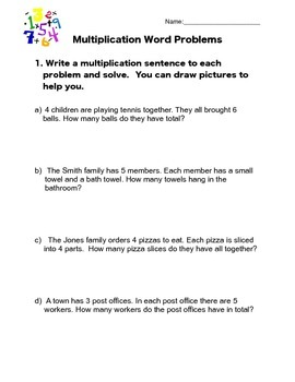Multiplication Word Problem Worksheet