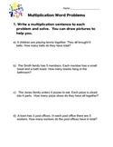 Multiplication Word Problem Worksheet
