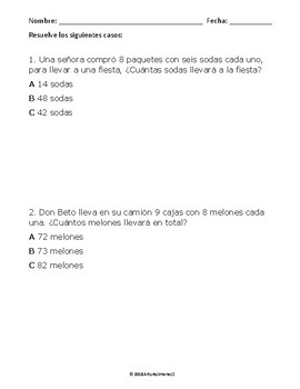 Multiplication Word Problems 1 - Problemas de Multiplicación 1 - Spanish