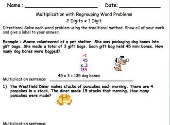 Multiplication  2-4 digits x 1 digit Word Problems Worksheet
