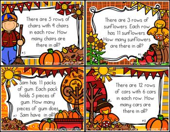 Autumn-Themed Multiplication Word Problem Task Cards