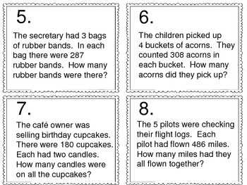 Multiplication Word Problems:  3 Digit by 1 Digit