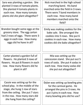 Multiplication Word Problems, Arrays, & Equations Match Up:  Common Core aligned