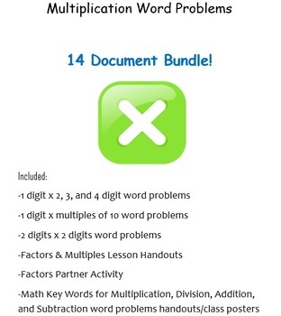 Multiplication Word Problems BUNDLE! (9 Word documents)