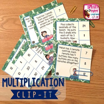 Multiplication Word Problems Clip It Card Game for Centers