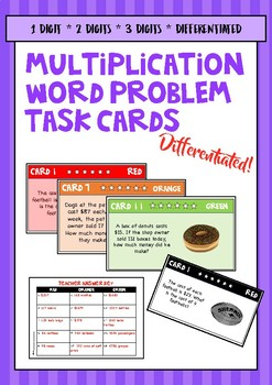 Multiplication Word Problems Differentiated Task Cards