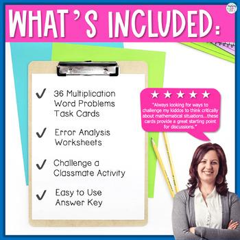 Multiplication Word Problems Error Analysis Task Cards