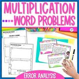 Multiplication Word Problems Task Cards - Error Analysis