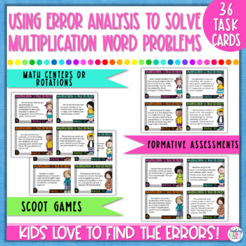 Multiplication Word Problems Task Cards - Error Analysis
