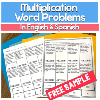 Bilingual Multiplication Word Problems - Free Resource - Bilingual Made Easy