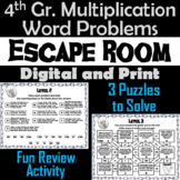 4th Grade Multiplication Word Problems Game: Escape Room Math