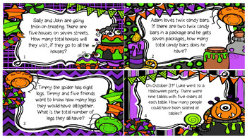 Multiplication Word Problems-Halloween Theme