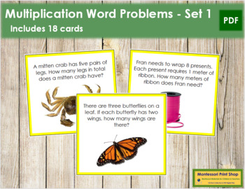 Multiplication Word Problems - Level 1 (color-coded)