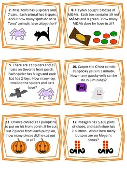 Multiplication Word Problems Matching Game - Halloween Themed