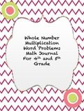 Multiplication Word Problems Math Journal
