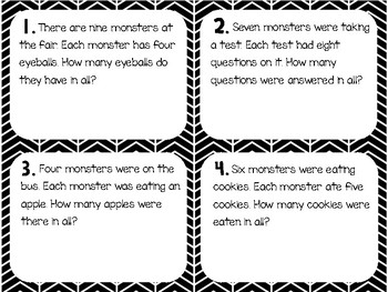 Multiplication Word Problems (Monster Themed)