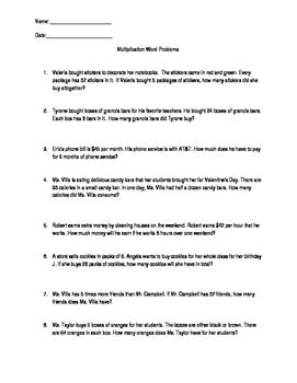 Multiplication Word Problems Practice Worksheet