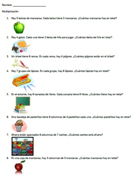 multiplication word problems spanish by laura kelly tpt