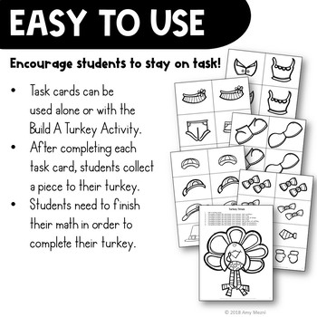 Multiplication Word Problems Task Card Math Center & Turkey Activity 3rd Grade