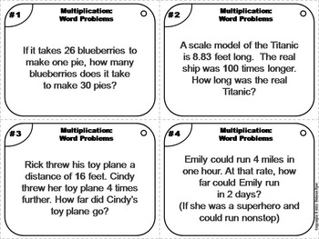 4th Grade Multiplication Word Problems Task Cards