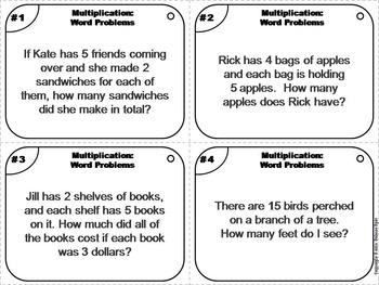 3rd Grade Multiplication Word Problems Task Cards
